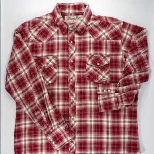 Vintage WRANGLER Western Cowboy Red Snap Shirt